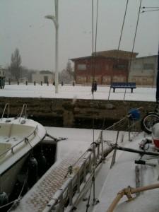 Port-Saint-Louis Pier mit Schnee
